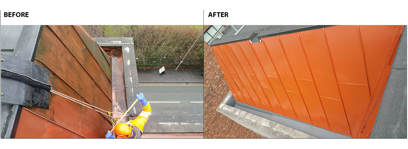 Photo showing the difference between before and after rope access cladding cleaning and painting works, Manchester