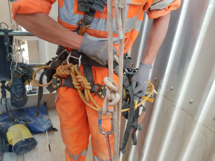 Rope Access Contractors Installing Cladding Fixings using IRATA trained technicians