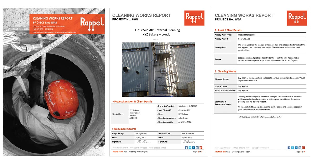 Silo Cleaning Works Sample Report. We issue a report for each silo cleaning project that we undertake.
