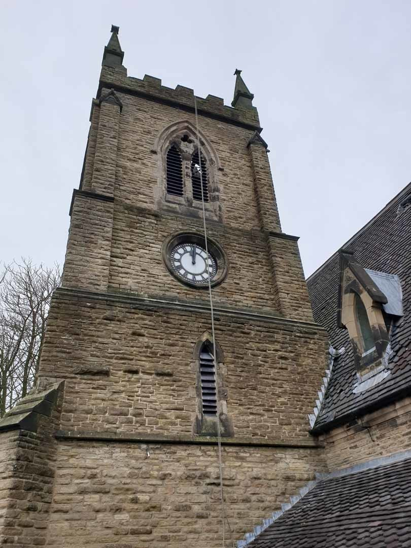 Rope Access Abseil Church Gutter and Rainwater Goods Cleaning Service