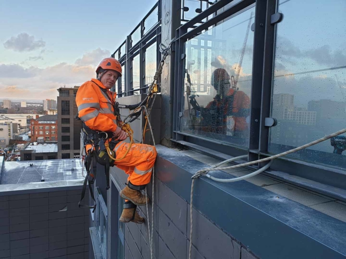 Rope Access Cladding Flashing Installation - Manchester